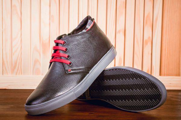 Zapatillas de cuero marrón oscuro