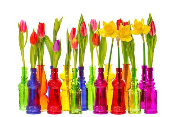 Los floreros en botellas coloridas son un modo de decorar la casa con poco dinero