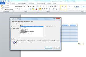 Copiar una tabla de Excel en Word