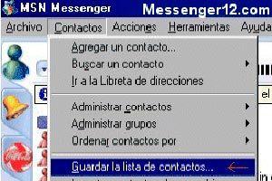 Ilustración de Guardar la lista de contactos de MSN