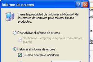Como deshabilitar el envío de informe de errores en Windows XP