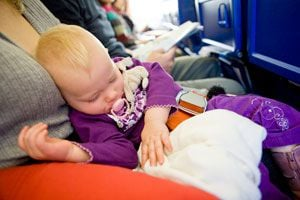 Ilustración de Cómo viajar en avión con niños