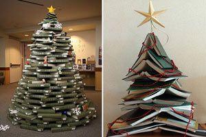 Cómo hacer un Arbol de Navidad con Libros
