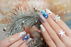 Ilustración de Decoración festiva para tus uñas