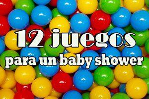 Ilustración de 12 juegos para un baby shower