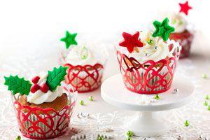 Ilustración de 6 cupcakes para Navidad