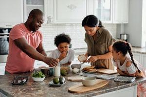 Ilustración de Los hábitos alimenticios saludables en familia